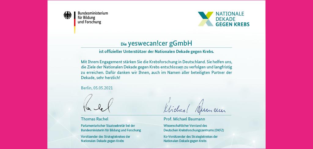 Nationale Dekade gegen Krebs - yeswecan!cer